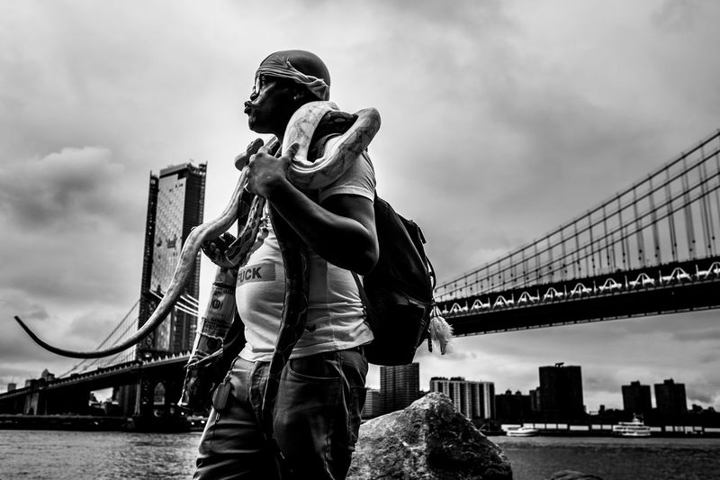 A man with 3 snakes around his neck walks around the park in Brooklyn, NY. Brooklyn Bridge Park Snakes Street Photography New York City EyeEmNewHere Black & White Brooklyn Brooklyn Bridge / New York Black Male Python Architecture Built Structure Sky Connection Real People Men Bridge Water Casual Clothing Nature Standing Low Angle View Day People