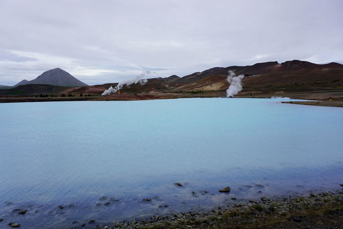 Iceland Myvatn Power Plant Steam Beauty In Nature Blue Day Fumaroles Hot Spring Lake Landscape Mountain Nature No People Outdoors Scenics Sky Tranquil Scene Tranquility Water