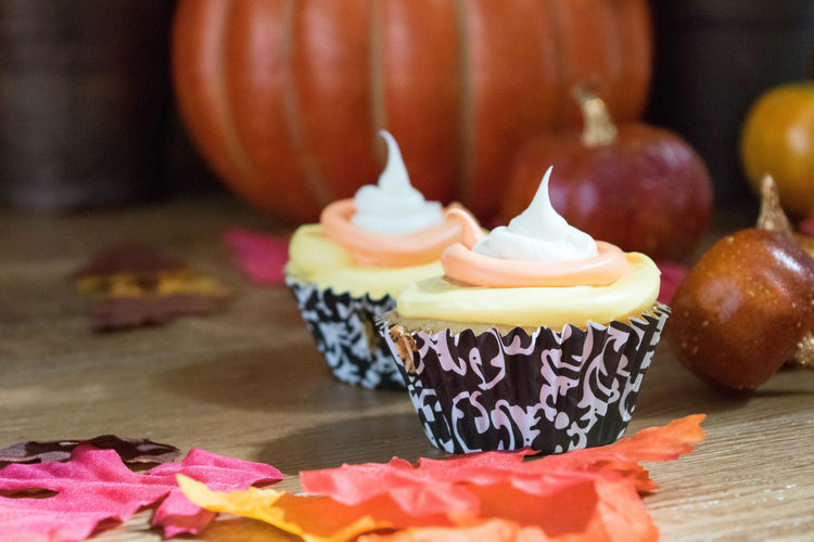 Autumn Colors Cupcakes Candy Corn Close-up Cupcake Day Dessert Fall Food Food And Drink Freshness Indoors  Indulgence No People Pumpkin Ready-to-eat Sweet Food Table Temptation Unhealthy Eating