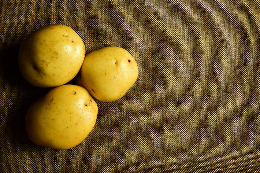Meal Plant Potato Brown Close-up Day Fat Food Food And Drink Freshness Fruit Healthy Eating Indoors  No People Organic Potato Chip Sack Top View Uncooked Vegetable Yellow