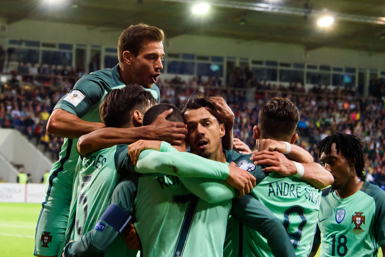 09.06.2017. RIGA,LATVIA. National football team of Portugal celebrates goal, during FIFA 2018 Qualification game between Latvia-Portugal. Riga, LATVIA. Football Latvia Portugal Portugal Football Competition Soccer Soccer Field Soccer Player Sport Sports Event  Sports Team Sportsman Stadium Togetherness