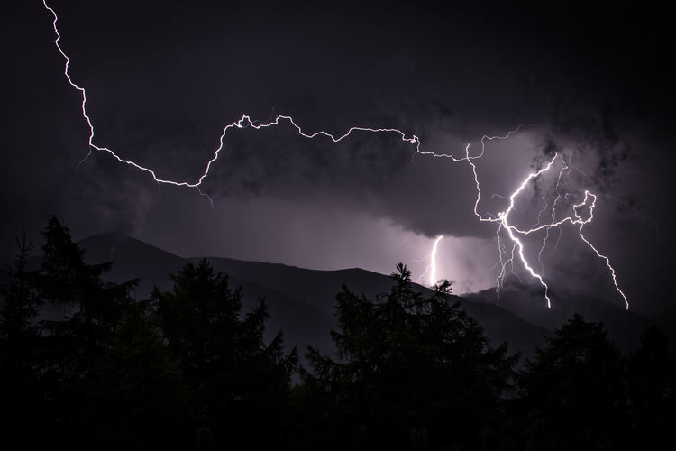 Low Angle View Of Lightning At Night