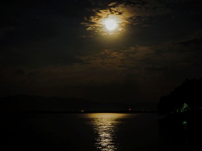 full moon water reflection Reflections In The Water Full Moon Glow In The Dark Moon Lights Up The Night Reflection Night Water No People Illuminated Outdoors Sunset Sky Silhouette Luminosity Beauty In Nature Scenics