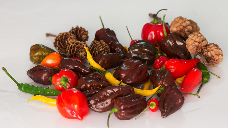 EyeEm Selects Chilli Peppers Habanero Peppers Chocolate Habanero Colorful Variation Food Vegetable Freshness Perspectives On Nature