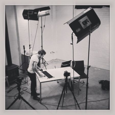 The set up for today's Rogers video shoot at the @lightxhevvy studio. Some Kino Flows Nikon d800 d600 and awesomepeople