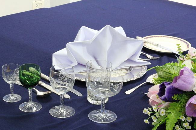 Napkin Folding NapkinFolding Napkins Alcohol Cocktail Drink Drinking Glass Flower Flowering Plant Food Food And Drink Freshness Glass Healthy Eating High Angle View Hotel Service Household Equipment Napkin Nature No People Refreshment Restaurant Setting Still Life Wineglass