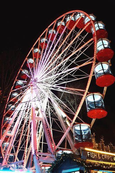 Arts Culture And Entertainment Night Ferris Wheel Amusement Park Illuminated No People Low Angle View Outdoors Festive Lights Edinburgh Christmas Market Edinburgh Multi Colored