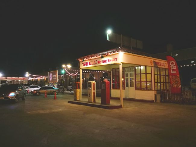 Traveling Home For The Holidays Night Outdoors Gas Station 70's Style ร้านมันเก่าดี Vintage 60's Style....