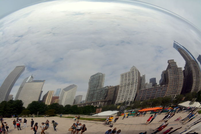 Architecture Building Building Exterior Built Structure Chicago Millinium Park City Cloud Gate Downtown Chicago Famous Place Giant Bean Low Angle View Mirrored Modern Office Building Outdoors Park Reflections Sky Skyscraper Street Style Tall - High Tower Unique Urban Reflections Crowd