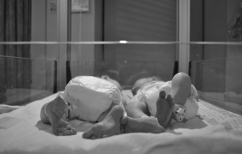 New Born Twins In Hospital Bassinet