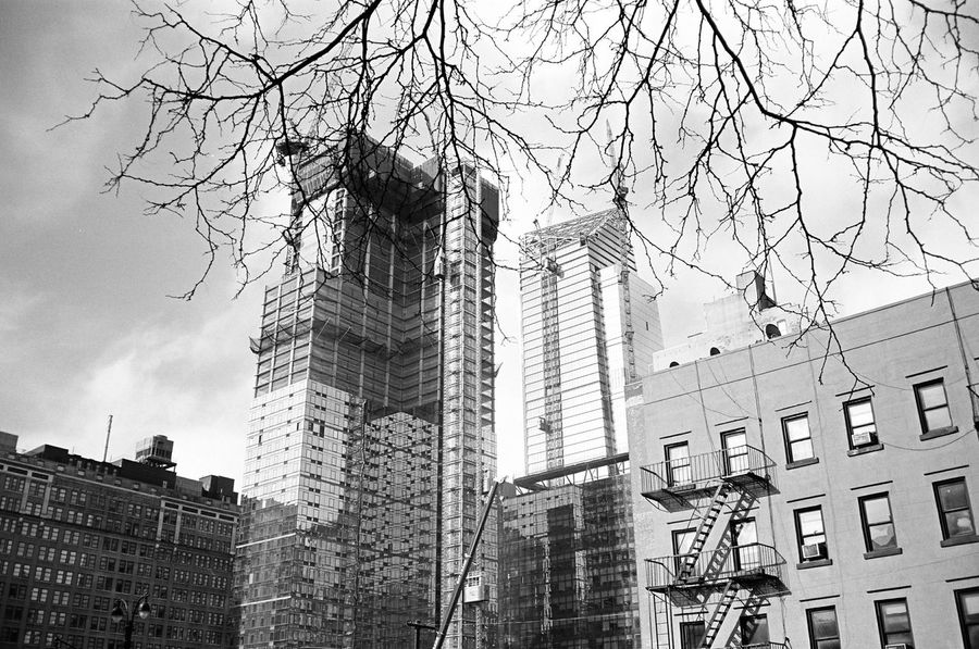Hudson Yards, January 2016 Architecture Bare Tree Skyscraper Low Angle View Development Construction Contaxt3 Contax Neopan Neopan Acros 35mm Film