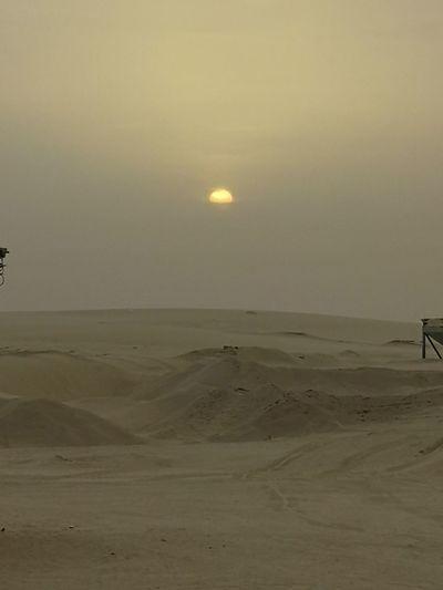 Good Morning Everybody ☀⛅ Sand Dune Desert Moon Sunset Beach Sea Arid Climate Sand Silhouette Sun