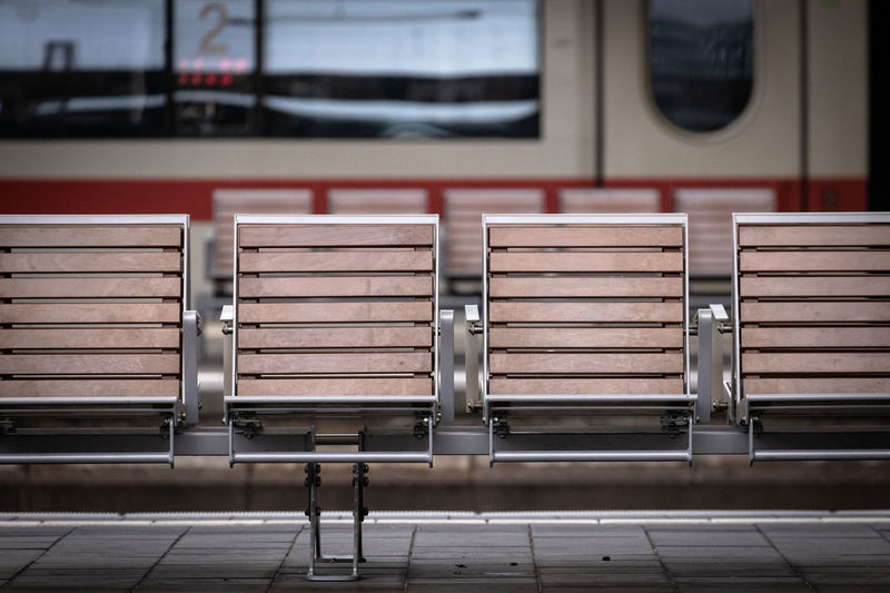 Empty seats at railway station