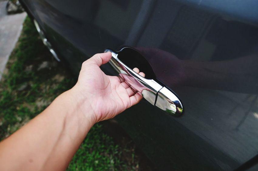 Car Door Car Door Handle Human Hand Holding High Angle View Close-up
