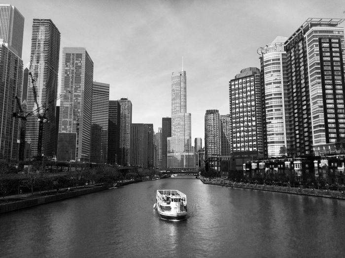 Architecture Building Exterior Built Structure Chicago Architecture Foundation Chicago Boat Ride Chicago Boat Tours City Cityscape Day Destination Modern Nautical Vessel No People Outdoors River Sky Skyscraper Transportation Travel Destinations Travelling Photography Urban Skyline Water Waterfront
