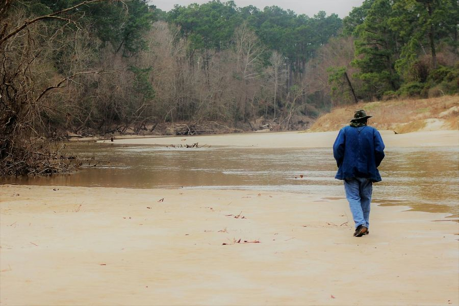 Rear View Full Length One Person Real People Walking Outdoors One Man Only Men Water Tree Nature People Day EyeEm Gallery EyeEm Nature Lover Popular Photos Texas Parks And Wildlife Scenics Landscape Creeks Husband EyeEm Best Shots