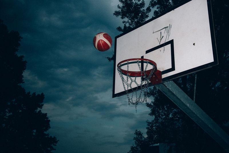 Low Angle View Of Basketball Above Basket