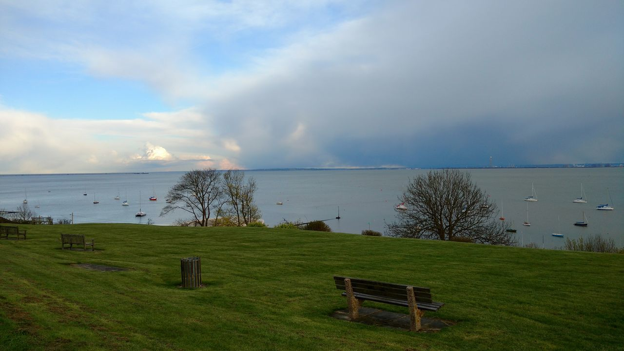 grass, tranquility, sea, water, tranquil scene, nature, scenics, sky, beauty in nature, cloud - sky, no people, horizon over water, day, outdoors, green color, landscape, tree