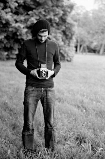 Black And White Camera Film Park Portrait Taking A Photo Twin Lens Reflex Young Man