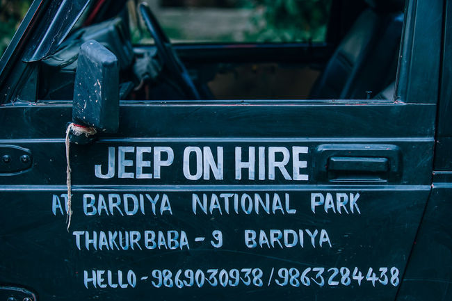 Jeep on Hire Bardiya Life National Passenger Text Tourist Tourists Typography VisitScotland Available Door Engrave Engraved Engraves Forest Hire Jeep Jungle Leisure Activity Lifestyles Park Side View Tour Tourism Wild