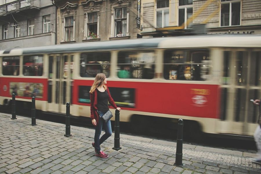 Traveling Home For The Holidays City Travel Transportation Mode Of Transport Street Tourist Only Women City Break Public Transportation Blurred Motion Adults Only Young Adult One Woman Only Adult One Person Built Structure Tourism Outdoors Motion Young Women