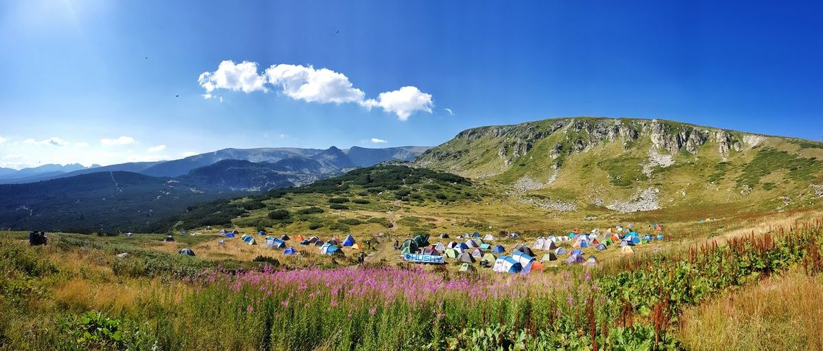 Mountain Mountain Range Cloud - Sky Sky Nature Day Landscape Outdoors Flower Beauty In Nature Scenics People Tree Sportsman Panorama Panoramic Landscape Bulgaria❤️ Summer ☀ Summer2017 Travel Destinations Seven Rila Lakes Rila Mountain