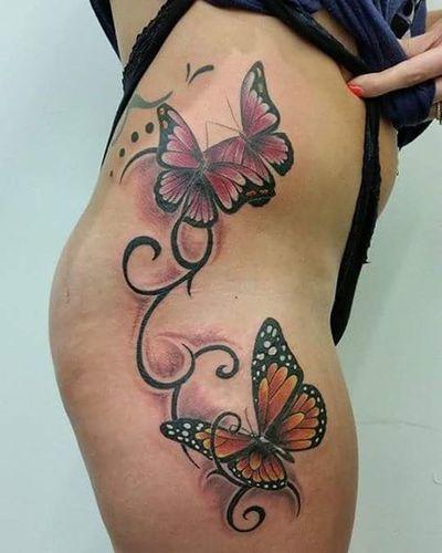 Pretty thigh/hip piece by Karl Whiteflame Inksocerer Karlstevens Nofilter Butterflytattoo Colourtattoo Thightattoo