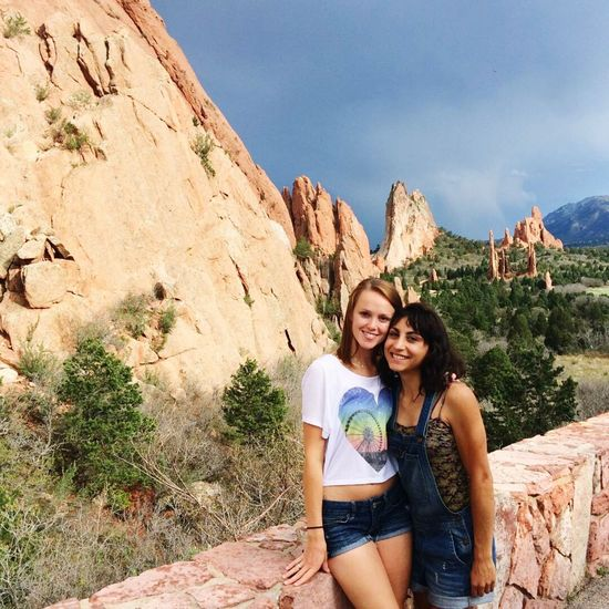 Colorado Colorado Photography Garden Of The Gods Two People Selfie Portrait Togetherness Friendship Smiling Looking At Camera Young Adult Sitting Photography Themes Bonding Leisure Activity Casual Clothing Young Women Adults Only Happiness Outdoors Healthy Lifestyle Vacations Summer