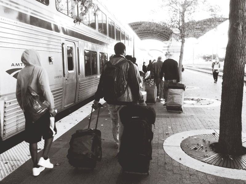 Trip Suitcase Leaving Train Traintracks Train Station Dallas Amtrack Station. Blackandwhite Photography Feel The Journey