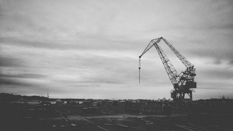 Cloud - Sky Sky Architecture Outdoors Crane - Construction Machinery Built Structure Construction Site Day Building Exterior No People City Cityscape black and white like our life