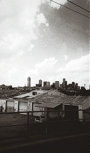 My Country In A Photo Photography Is My Escape From Reality! Check This Out Skyscrapers Fromthetrain City Skyline Black And White EyeEm Best Shots Dallas Texas