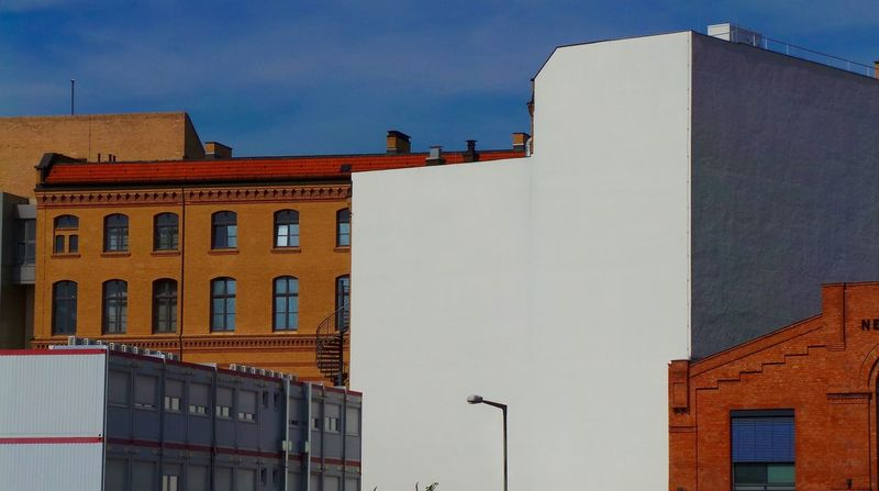 Abstract Architecture Architecture Architecture Lovers Berlin Blue Building Exterior Built Structure City Life Color Of Life Colors House Houses Industrial Area Low Angle View No People Office Building Showcase September Sky Battle Of The Cities Surreal The Magic Mission Wall White White Wall Discover Berlin