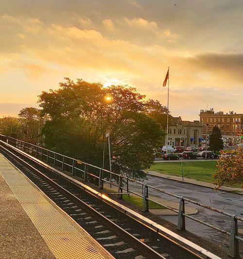 Top O' the Morning to Ya Outdoors Goodlight Scenics City Sunset Railroad Track Sky Rail Transportation Metro Train Railroad Station