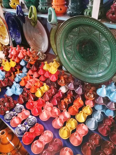 Tagines Marrakech . Colour Variation Choice Large Group Of Objects No People Retail  Market Indoors  Multi Colored Day Marrakech