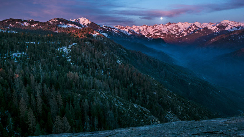 Moonrise Kingdom Beauty In Nature Cloud - Sky Cold Temperature Landscape Moonrise Moonrise Kingdom Mountain Mountain Peak Mountain Range Nature Night No People Outdoors Scenics Sky Snow Snowcapped Mountain Sunset Travel Destinations Tree Winter Millennial Pink The Great Outdoors - 2017 EyeEm Awards Shades Of Winter