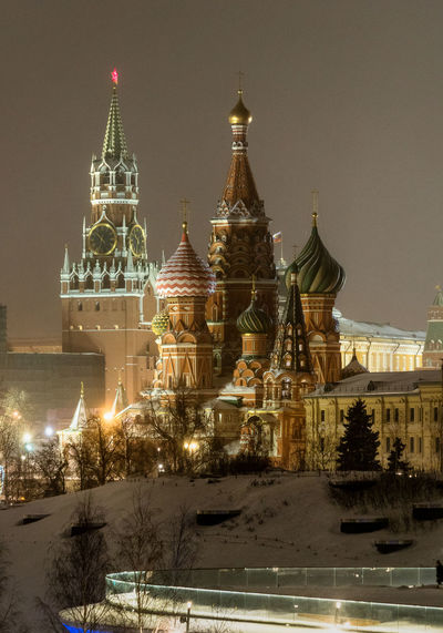 Russia, Moscow, the Kremlin, the Nikolskaya street, night, snow, Vasilevsky descent, the Kremlin's Spassky tower, St. Basil's Cathedral, Monument to Minin and Pozharsky on red square, Manezhnaya square, Ulitsa Varvarka, Zaryadye Park , winter, travel, architecture Moscow Night Photography Red Square Russia Architecture Building Exterior Built Structure Christmas Christmas Decoration Cold Temperature Dome Illuminated Night Nightlife No People Outdoors Place Of Worship Religion Sky Snow Snowing Spirituality The Kremlin Tree Winter
