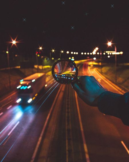 Night Illuminated Real People Human Body Part Human Hand Speed Blurred Motion Motion Nightlife One Person Light Trail Road Men Outdoors City People