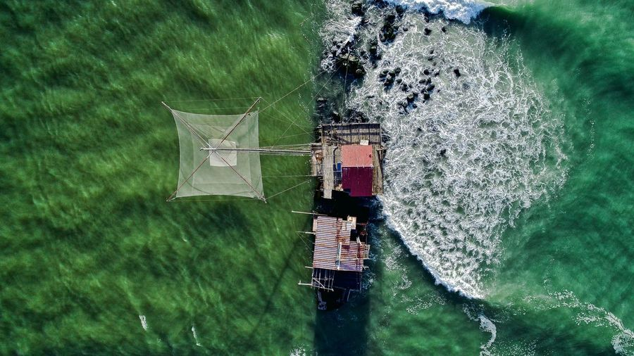 Aerial View Of Fishing Net In Sea