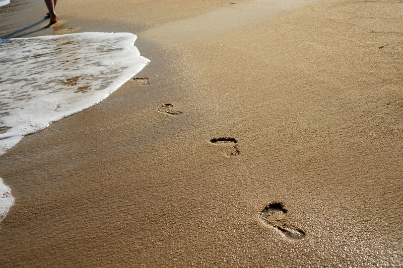 Beach Beach Walk Coastline Day Feet Foam FootPrint Legs Outdoors Recreational Pursuit Relaxation Sand Sandy Sandy Beach Sea Shore Summer Traces Traces In The Sand Vacations Walking Walking Alone... Water Wave Wave