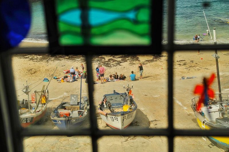 Window Day Indoors  Built Structure No People Architecture Building Exterior Close-up Beach Boats Sennan Cornwall England Stained Glass Perspectives On Nature Visual Creativity