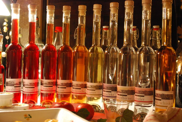 Alcohol Alkoholic Drinks Austrian Schnaps Bottle Bottles Bottles Of Schnaps Drink Food And Drink Large Group Of Objects No People Schnaps Schnapsflaschen