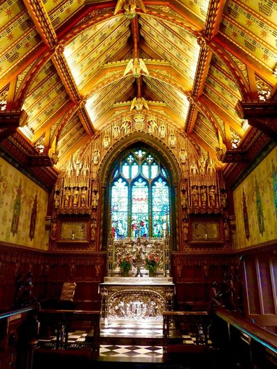 Sandringham Church Stain Glass Window Decorated Ceilings