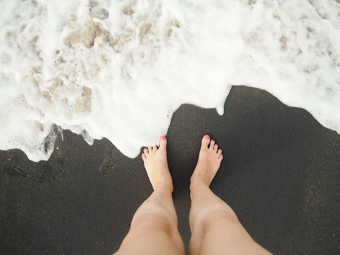 Contrast Surreal Black Sand EyeEm Selects Low Section Water Beach Sea Relaxation Human Leg Sand barefoot Women Summer Surf Personal Perspective Tide Wave Shore