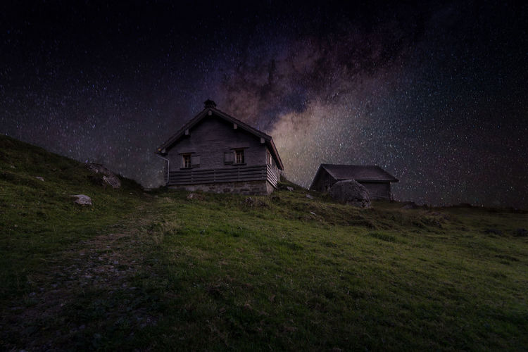 Schwägalp Astronomy Galaxy Milky Way Star - Space Countryside Deterioration Infinity Abandoned Grassland Green Damaged Nebula Discarded Peeling Off Lakeside Hut