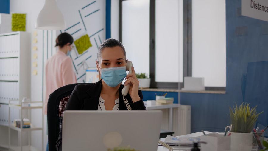 Portrait of people working in office