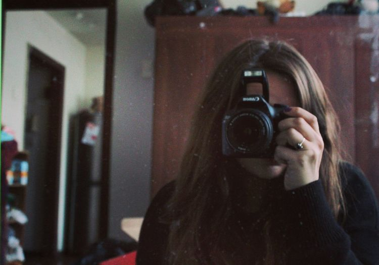 Photography Themes Photographing Camera - Photographic Equipment Technology Photographer Adults Only One Woman Only Digital Camera Adult Women One Person Retro Styled Canon EOS T6