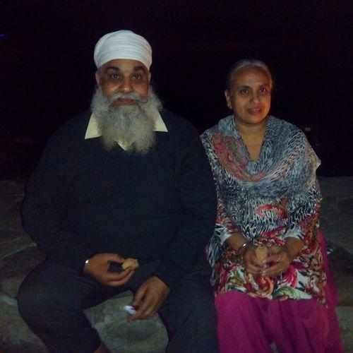 Growing Old Together Elderly Couple White Turban White Beard Sweet Couple Enjoying Softy Enjoying Life Together Forever at Sukhna Lake, Chandigarh.