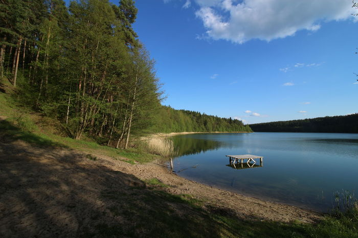 Blue Day Forest Lake Landscpe Masuren Masuria Mazury Nature No People Outdoors Summer Trees Water Wide Angle