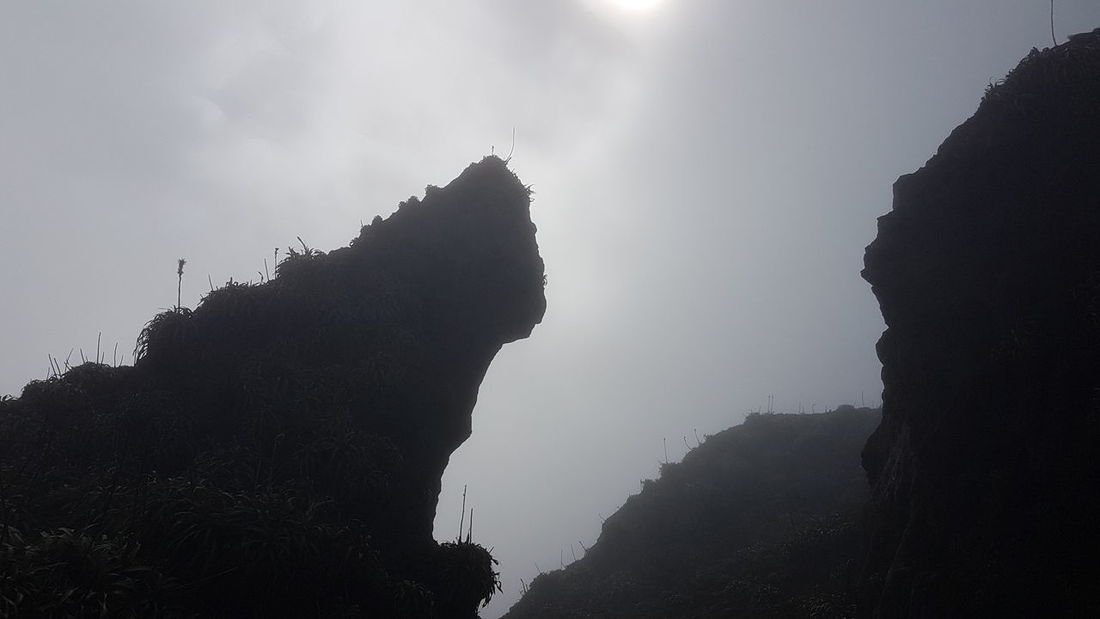 No People Silhouette Outdoors Fog Nature Beauty In Nature Sky Gwada  Gwadeloupe Guadeloupe Soufriere Cloud Cloudscape Rock