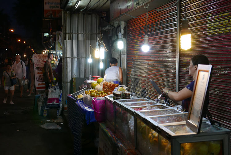 Street view of Thong-Lo area, Bangkok, Thailand Food Food Stand Night Market Nightly People Street Thai